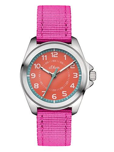 s.Oliver Time Fille Montre pour Apprendre à Lire l'heure Quartz Bracelet en Tissu SO-3400-LQ
