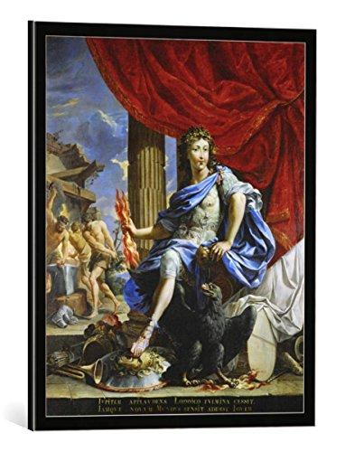 kunst für alle Bild mit Bilder-Rahmen: 17. Jahrhundert Ludwig XIV als Jupiter Gemälde - dekorativer Kunstdruck, hochwertig gerahmt, 45x55 cm, Schwarz/Kante grau
