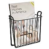 mDesign Revistero - Revistero pared para el baño, la cocina o la oficina - Revistero pared metálico para libros y revistas - Color: negro - MetroDecor - amazon.es