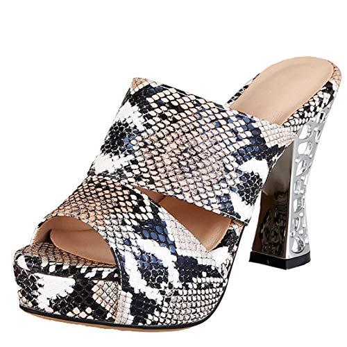 AIYOUMEI Slipper Damen mit Blockabsatz Pantoletten Plateau High Heels Mules Damen Snake Print Sandalen Braun 37 EU Snake-print-high Heel