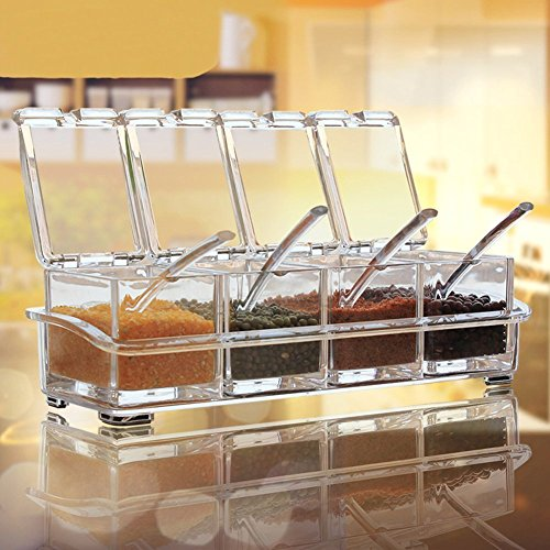 Cozer Crystal Seasoning Rack Spice Pots,4 Box With Spoons