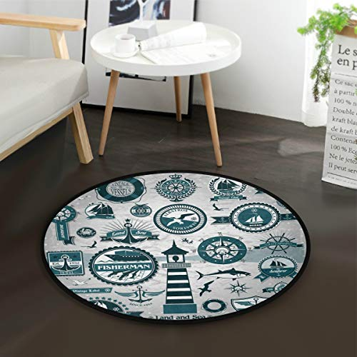 LUPINZ Etiketten und Stempel von Marine Runde Anti-Rutsch-Flächen-Teppich-Etiketten und Stempel von Marine Teppich-Fußmatten für Zimmer - Runde Marine Teppich