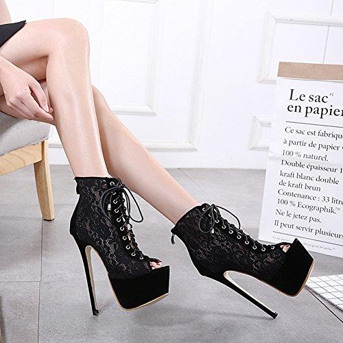 Aisun Damen Sexy Spitze Peep Toe High Top Schnürsenkel Plateau Stiletto Sandalen Schwarz