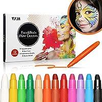 Crayons Peinture pour Visage et Corps, Y.F.M, Crayons de 12 Couleurs Maquillage Artistique, Sûr, Non-Toxique, Lavable, Cadeau Ludique pour Cosplay, Carnaval, Anniversaire, Halloween, Pâques, Noël