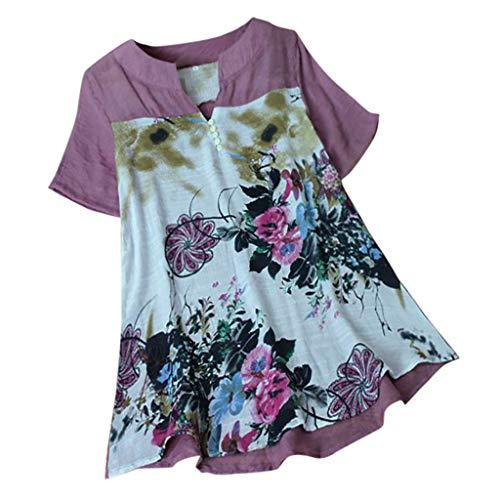 Jorich Womens Plus Size Bluse, Kurzarm Blumendruck T-Shirt Lose U-Ausschnitt Tunika Shirts Sommer A-Line Tops Kostüm (XL, Lila) - Plus Training Schuh