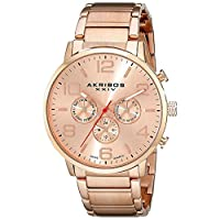 Akribos Xxiv Men's Rose Gold Dial Stainless Steel Band Watch - Ak803Rg, Analog Display, Swiss Quartz Movement