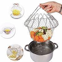 Chef Basket 12 in 1 Kitchen Tool for Cook / Boiling Solid Steel Delux / Stainless Steel Strainer / Steamer Basket Oil Strainer / Fish Basket Deep / French Fry / Deep Fry / Chips Baskets / Snack Server