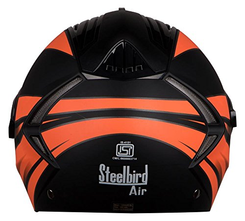 Steelbird Sba 2 Streak Full Face Helmet ( Mat Black) With Extra Visior (Bklack Orange, 580)