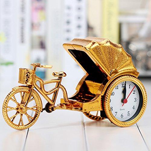 HSRG Mini Vintage Digital Tisch Analog Wecker Batteriebetriebene Reise Uhr Snooze Wecker Für Kinder Student (Größe: 225 * 75 * 130Mm),Gold