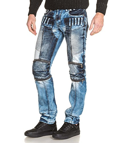 BLZ jeans - Jean homme bleu délavé destructuré fantaisie Bleu
