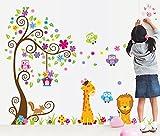 ufengke® Albero di Fiori Colorati Gufi Carino Giraffa Leone Adesivi Murali, Camera dei Bambini Vivai Adesivi da Parete Removibili/Stickers Murali/Decorazione Murale