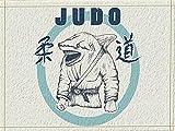 fdswdfg221 Sfondo Beige, Cerchio Blu, Judo, Testa di squalo Bianco, Abiti da Judo Accessori per tappetini da Bagno 3D con Stampa Digitale