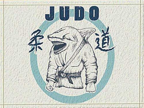 HTSJYJYT Weißer Hintergrund Shark Kopf japanische Krieger Judo Kostüm in Englisch Judo Schriftart Badezimmer-Matte rutschfeste saugfähige weiche bequem (Kopf In Den Wolken Kostüm)