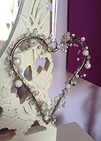 Small Beaded Love Heart Hanging Decoration Crystal White Beads Wedding Chic Bow