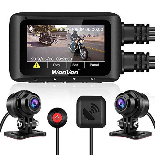 Dash CAM para Motocicleta, WonVon MT1 Cámara de Motocicleta con GPS 1080P 2.7''LCD Pantalla Cámara de Doble Lente Frontal y Trasera, WiFi Incorporado, Visión Nocturna, G-Sensor, Grabación en Bucle
