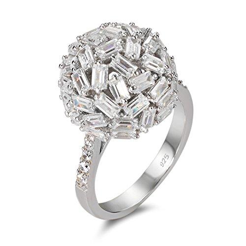 Fingerring Silber Zirkonia rhodiniert, Beschichtung: rhodiniert, Durchmesser Kugel: 15.0 mm, Materialstärke: 1 mm, Ringbreite: 2.5 mm, Zielgruppe: XVision Grösse 58