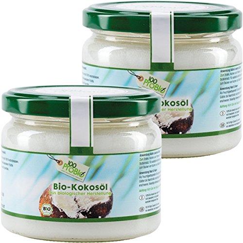 100ProBio Kokosöl nativ -100% reines Kokosöl- kaltgepresst & naturbelassen (2 x 250ml)