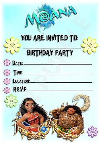 Disney Moana Birthday Party Invites