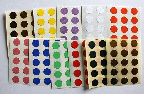 Variado colores. 165 Etiquetas, 10mm De Forma Redonda, Pegatinas Autoadhesivas, Minilabel Formas