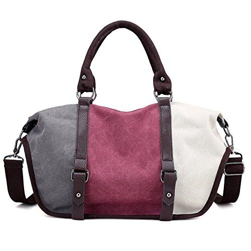 Gurscour Damen Handtasche Canvas Umhängetasche Schultertaschen Kuriertasche Henkeltaschen Handgelenkstaschen Shopper Tasche 1060-wine red
