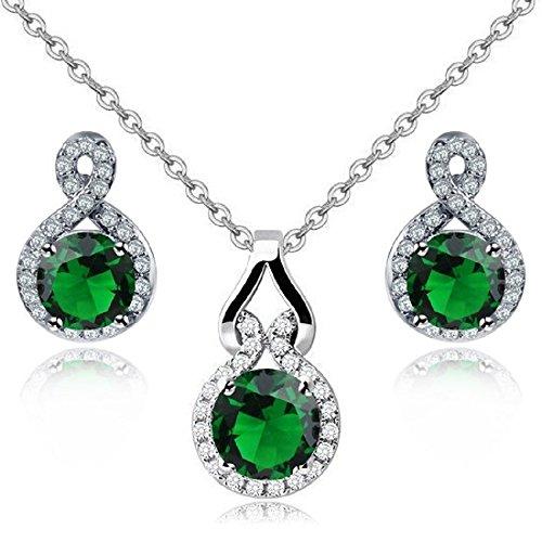 Redondo Esmeralda simulada verde Cristales austríacos de Zirconia Juego de joyas Collar con colgante 45 cm Pendientes 18k Chapado en oro blanco