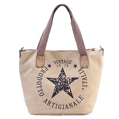 GWELL Canvas Handtasche mit Stern Umhängetasche mit Schultergurt und Reißverschluss beige (Damen Beige Handtasche)