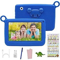 Tablet Infantil de 7 Pulgadas con Android 7.0,Tablet para Niños con Juegos Educativos / WiFi , 2GB RAM + 32GB con Memoria Escalable , Doble Cámara , con Funda de Silicona .
