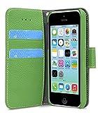 Melkco 4895158645472 Mappen-Buch- Typ Premium-Leder Tasche für Apple iPhone 5C grün