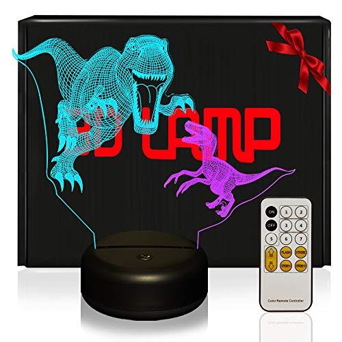 2 Dinosaure 3D Lampes Couleur Épissure avec Télécommande, QiLiTd LED Lampe 7 Changement de RGB couleur Tactile Interrupteur, Decoration Anniversaire Cadeau Noël Pour Bébé Enfant Ado Femme Homme
