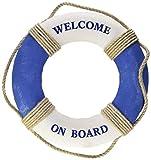 Juvale Life Ring « Welcome on Board » - Bague de Sauvetage décorative pour décoration Murale - Bleu Blanc Nautique - 12,5 cm (31,8 cm)