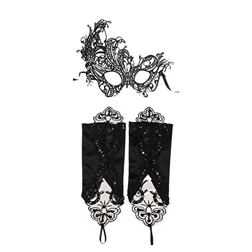 DaoRier Venetian Woman Mask Lace Masquerade Sexy Lady EyeMask and Gloves for Wedding Carnival Party Festive Night Black