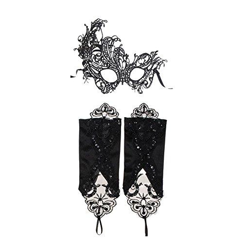 daorier venezianischen Frau Maske, spitze Masquerade Sexy Lady Eyemask und Handschuhe für Hochzeit Karneval Party Festive Night (Masquerade Handschuhe)