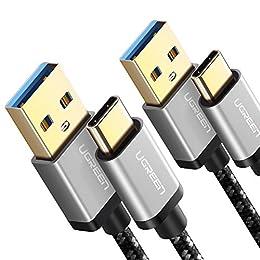 UGREEN 2X Cable USB C, Cable USB Tipo C a USB A 3.0 Nylon Trenzado Carga Rápida para Dispositivos USB Type C Samsung S8 Plus S8 Note 8, Xiaomi Mi A2 Mi A1 Mi 8, Huawei P9, BQ Aquaris X, LG G6,Sony XZ2