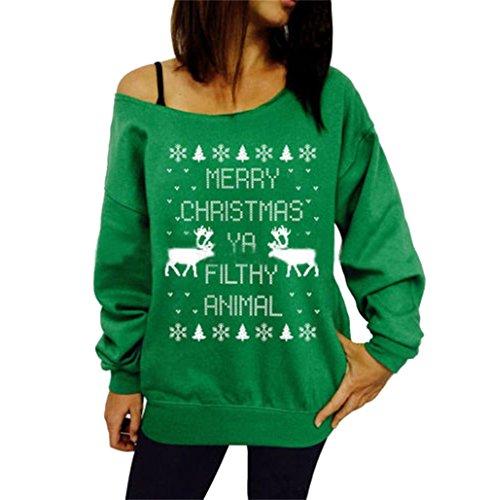 Honghu Femme Casual Manches Longues Impression d'arbre de Noël Sweats Pullover Sweatshirts Vert