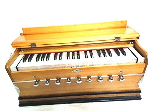 Indischer Maharadscha Harmonium 9Stoppt, 31/2Oktave, Double Reed, Kupplung, natürliche Farbe, Standard, Buchen, gepolsterte Tasche, A440gestimmt, Musikinstrument indischen Sangeeta