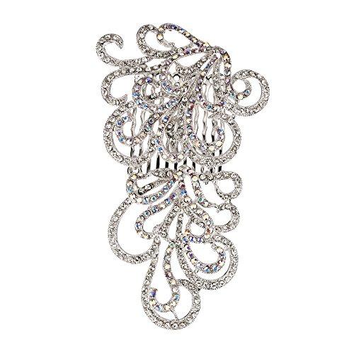9b6306453 AB & Clear White Swarovski Crystals, Swirl Hair Comb Nickel Free, Rhodium  Plated, Gemini London Jewellery