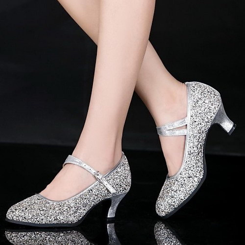 T.T-Q Damen Tanzschuhe Leder Lack Modern Heels Cuban HeelProfessional Outdoor Silber Latein Sandalen Salsa Jazzö