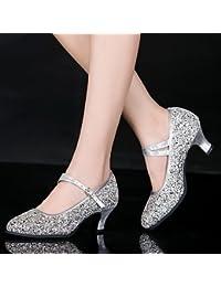T.T-Q Damen Tanzschuhe Leder Lack Modern Heels Cuban HeelProfessional Outdoor Silber Latein Sandalen Salsa Jazz...
