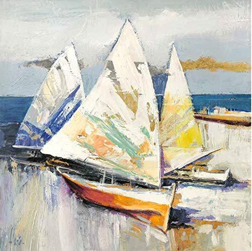 Rahmen-Kunst Keilrahmen-Bild - Luigi Florio: Barche Sulla Spiaggia Detail Leinwandbild Strand Segel-Boote Meer Italien