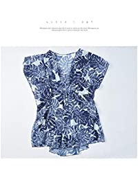 HITSAN INCORPORATION Women High Waist Bikini Set Plus Size Leaves Print Cover Up High Waist Shorts Beach Dress Women Swimsuit Bathing Suits 2018 Color Blue 3 Pieces Set Size 6XL
