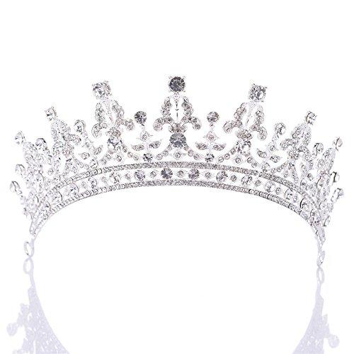 Couronne royale ornée de zircon cubique cristal fabriqué par SWEETV pour femme, un accessoire de cheveux pour la mariée ou pour les concours de beauté, Argent