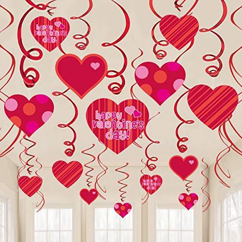 Jinxuny Hängende Herz Wirbel Decke Deko Glitzer Herz Hängende Decke Valentinstag Hängende Dekoration für Decke für Jahrestag Hochzeit Geburtstag Brautshow Junggesellenabschied, 01#
