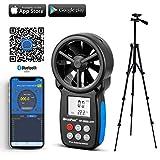 Numérique Portable anémomètre, HOLDPEAK 866B-APP Bluetooth Anémomètre avec thermomètre pour mesurer la Vitesse du Vent, la température et Le Refroidissement éolien avec rétro-éclairage