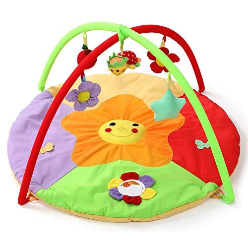FYABB New Born Baby Playmat, Kleinkinder Activity Play Gym Discovery Carpet mit Soft Toys und Fun Animals für Kinder 0-12 Monate,Sunflower