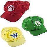 Katara - Gorra para disfraz de Super Mario Bros (3 unidades), color rojo, verde y amarillo