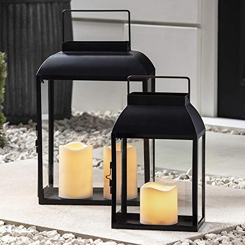 Lights4fun 2er Set schwarze Metall Laternen Außen mit LED Kerzen batteriebetrieb Timer