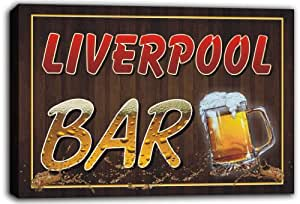scw3–034374Liverpool Name Home Bar Pub Beer Tassen, gespannte Leinwand Print Schild
