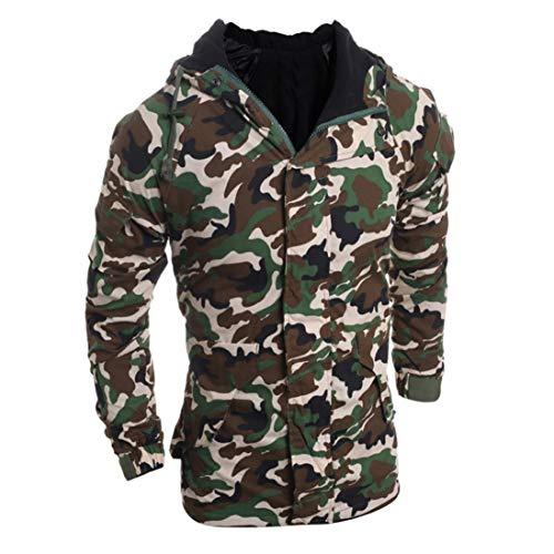 IMJONO Herren Herbst Winter Camouflage Wind Männer Hooded Coat Bluse (EU-48/CN-XL,Camouflage)