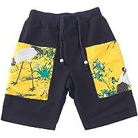XiYunHan Pantalones de playa pantalones sueltos pantalones cortos de estilo chino macho lino original cinco pantalones brocado de verano marea marea de moda masculina (Size : L)