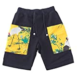 Limiz Beach pants loose trousers Chinese style shorts male original linen five pants summer brocade patch tide male fashion (Size : M)